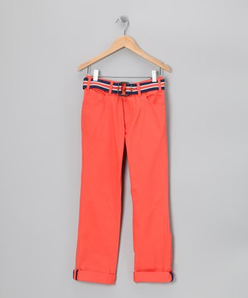 Orange Crush Belted Chino Pants - Boys