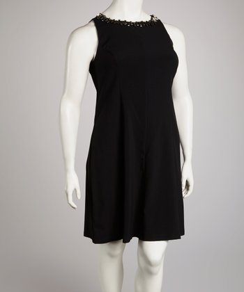 Black Rhinestone Scoop Neck Sheath Dress - Plus