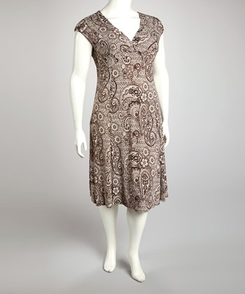 Brown & Cream Paisley Cap-Sleeve Dress - Plus
