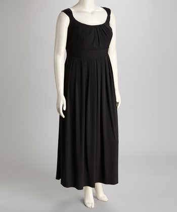 Black Pleated Plus-Size Maxi Dress