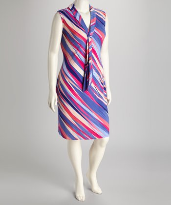 Purple Stripe Plus-Size Sleeveless Dress