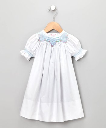 White Isabel Short-Sleeve Bishop Dress - Infant & Girls