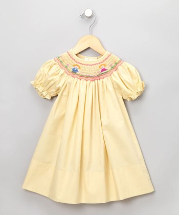 Yellow Jump'n Rope Short-Sleeve Bishop Dress - Infant