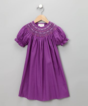 Royal Purple Short-Sleeve Bishop Dress - Toddler