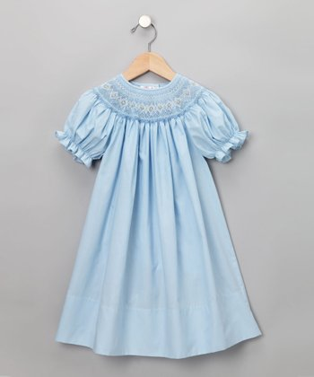 Rosalina - Light Blue English Short-Sleeve Bishop Dress
