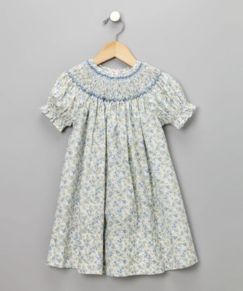 Blue Floral Print Short-Sleeve Bishop Dress