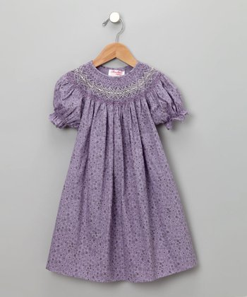 Rosalina - Purple Floral Print Short-Sleeve Bishop Dress