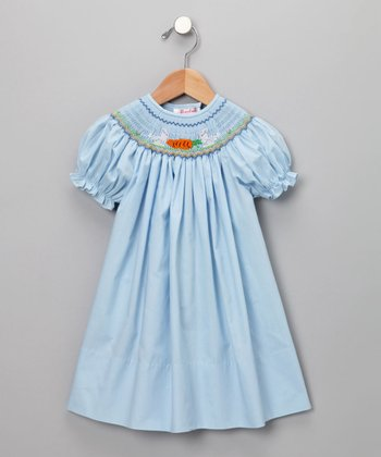Blue Bunny & Carrot Short-Sleeve Bishop Dress - Infant & Toddler