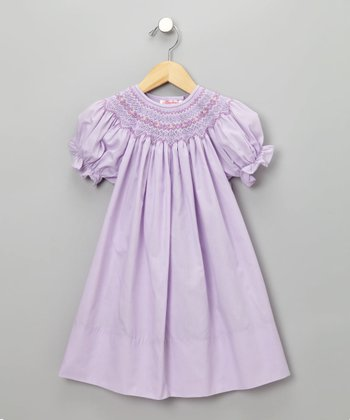 Light Purple English Short-Sleeve Bishop Dress - Toddler