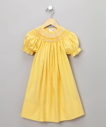 Yellow Gingham English Short-Sleeve Dress - Toddler & Girls