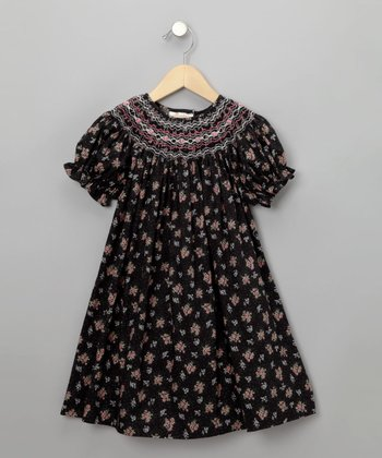 Black Rose Print English Short-Sleeve Bishop Dress - Toddler