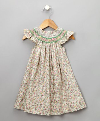 Ivory Floral Print Cap-Sleeve Bishop Dress - Infant & Toddler