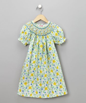 Yellow Butterfly Print Short-Sleeve Bishop Dress - Toddler