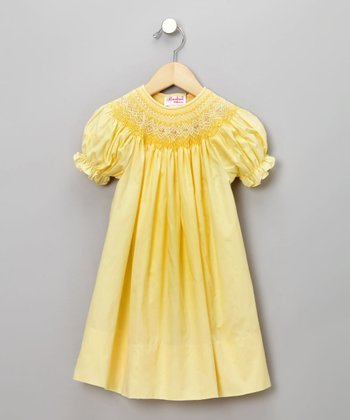 Yellow English Short-Sleeve Bishop Dress - Infant & Toddler