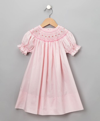 Rosalina - Pink English Short-Sleeve Bishop Dress