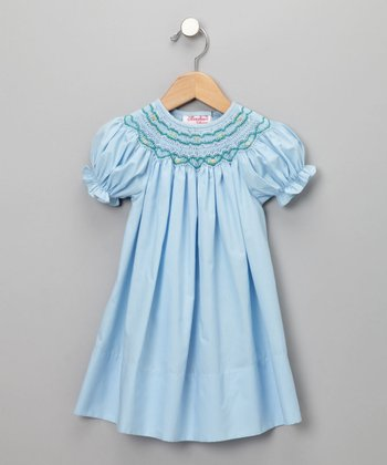 Light Blue Cable Flower Short-Sleeve Bishop Dress - Infant