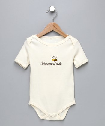Ecru 'Dolce Come il Miele' Organic Bodysuit - Infant