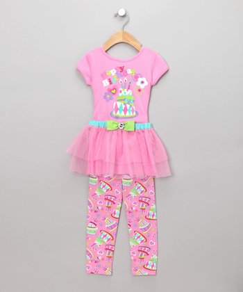 Pink Happy Birthday Tunic & Leggings - Girls