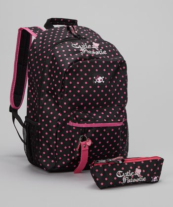 Black & Pink Polka Dot Backpack & Pencil Case