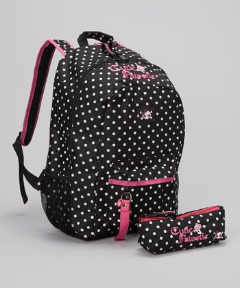Black & White Polka Dot Backpack & Pencil Case