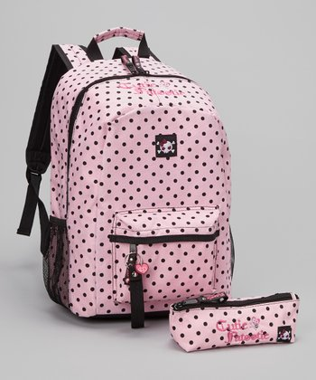 Light Pink Polka Dot Backpack & Pencil Case