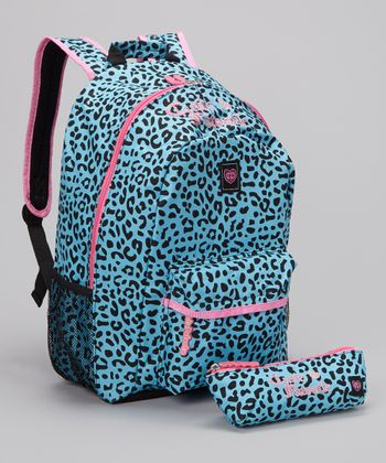 Turquoise Leopard Backpack & Pencil Case