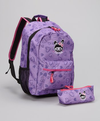 Purple Brushed Heart Backpack & Pencil Case