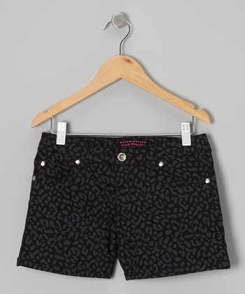 Black Tone on Tone Leopard Shorts