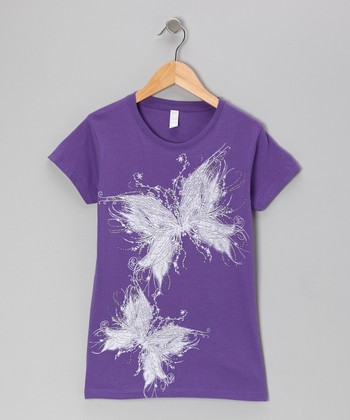 Purple Glitter Butterfly Tee