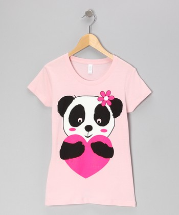 Light Pink Heart Panda Tee - Girls