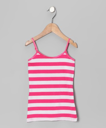 Neon Pink & White Stripe Tank - Girls