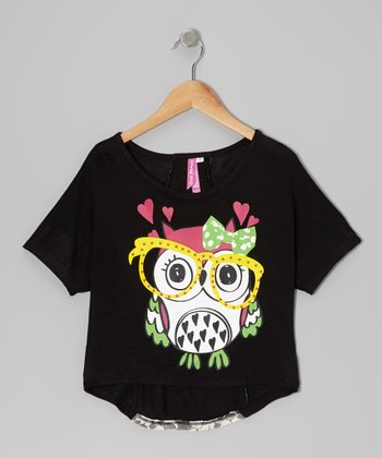 Black Owl Lace Top