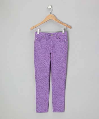 Lilac Leopard Pants - Girls