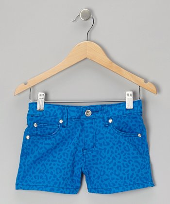 Turquoise Tone on Tone Leopard Shorts
