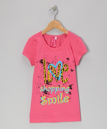 Hot Pink 'Love Shopping Smile' Tee - Girls
