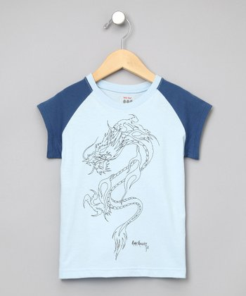 Baby Eggi Boys - Deep Surf & Sky Dragon Baseball Tee
