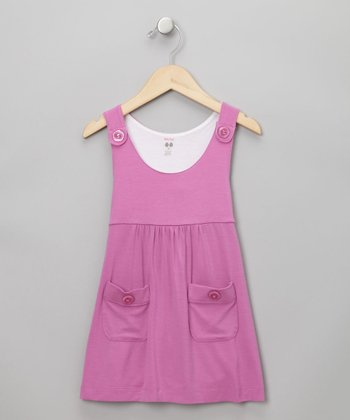 Baby Eggi Girls - Dusty Petal & Snow Apron Dress 2T