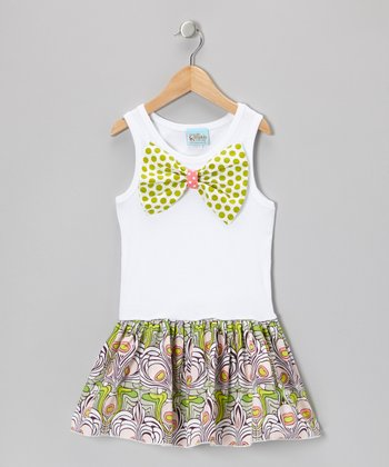 White & Green Bow Drop-Waist Dress - Infant, Toddler & Girls
