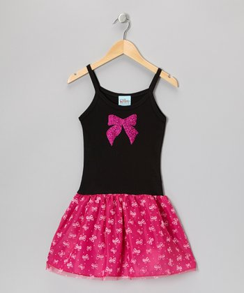 Black & Magenta Glitter Bow Drop-Waist Dress - Toddler & Girls