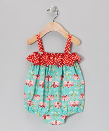 Turquoise Floral Ruffle Bubble Bodysuit - Infant