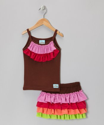 Brown & Pink Ruffle Tank & Skirt - Infant, Toddler & Girls