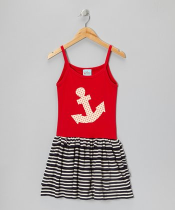 Red & Navy Stripe Anchor Dress - Toddler & Girls