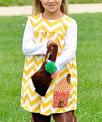Yellow Zig-Zag Babydoll Dress - Infant, Toddler & Girls
