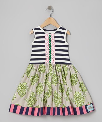 Navy & White Stripe Floral Ava Dress - Infant, Toddler & Girls