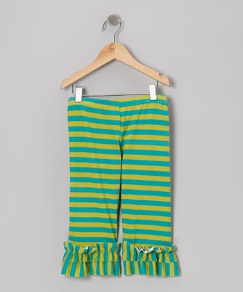 Green & Teal Stripe Capri Leggings - Infant, Toddler & Girls