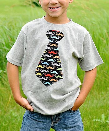 Gray Mustache Tie Tee - Infant, Toddler & Boys