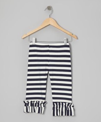Navy & White Stripe Capri Leggings - Infant, Toddler & Girls