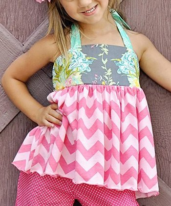Pink & Aqua Zig-Zag Halter Top - Infant, Toddler & Girls