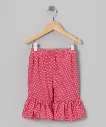 Pink & White Polka Dot Capri Pants - Infant, Toddler & Girls