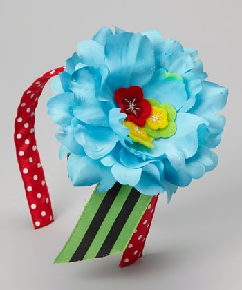 Red & Blue Flower Polka Dot Ellie Headband